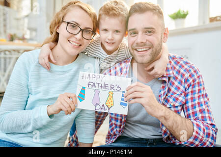 Happy Family Celebrating Fathers Day - Stock Photo