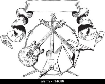 Heavy Metal Coat Of Arms Drawing Of Electric Guitar Bass Drums