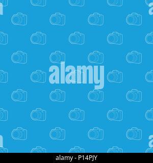Camera pattern vector seamless blue - Stock Photo