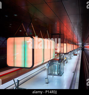 Hamburg, Germany - April 7, 2017: Subway station with red lights at University on the Speicherstadt area in Hamburg - Stock Photo