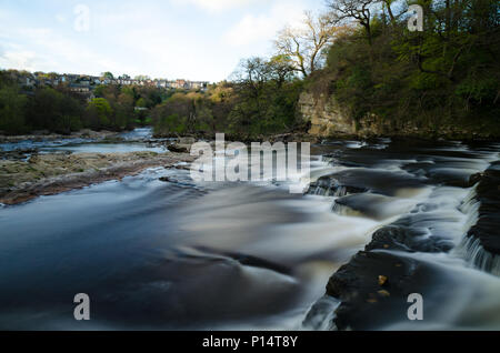 Long Exposure Photograph of The River Swale at Richmond, North Yorkshire - Stock Photo