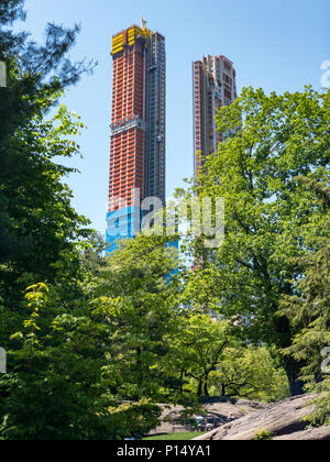 Skyscrapers along Central Park South. Also known as Billionaries Row in New York City. - Stock Photo