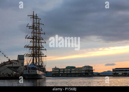 Tall Ships Race 2008. Bergen, Norway - August 2008. The Russian Mir (square rigged sail ship) - Stock Photo
