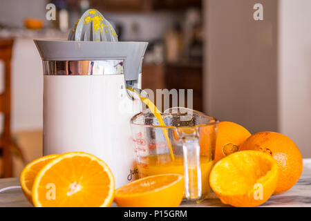 tabletop electric orange and citrus fruit juicer in a home kitchen with fresh whole and cut oranges . - Stock Photo
