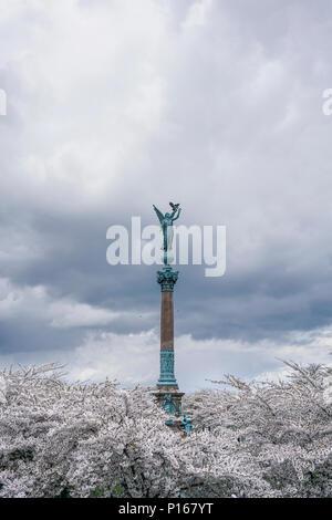 Statue of an angel on the Ivar Huitfeldt Column in Copenhagen, Denmark - Stock Photo