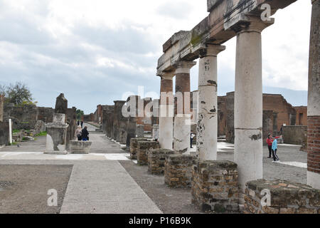 The Civil Forum which hosused all the main public buildings in the core of the Ancient CIty of Pompeii, Italy. - Stock Photo