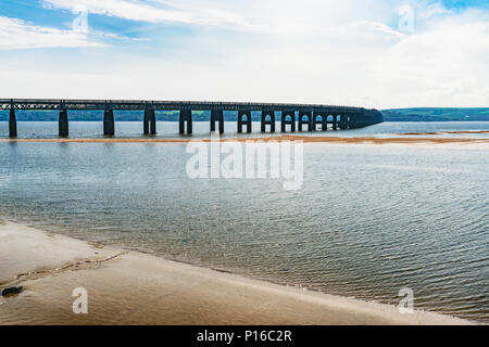 Panoramic view of the Tay Rail Bridge in Scotland. A railway bridge that spans the Firth of Tay, between the city of Dundee and Wormit. - Stock Photo