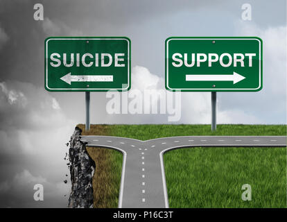 Suicide and support or severe depression risk of hopelessness as a mental illness therapy health concept as a permanent solution. - Stock Photo