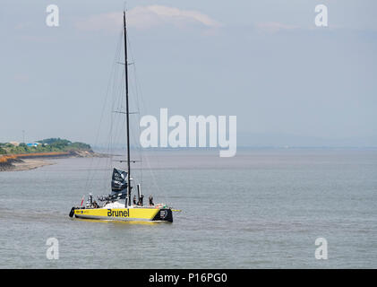 Cardiff Bay, Cardiff, Wales UK. 10th June 2018  Brunel,  leaves port to prepare for the start of The Volvo Ocean Race  Leg 10 Cardiff to Gothenburg. Credit: Phillip Thomas/Alamy Live News - Stock Photo