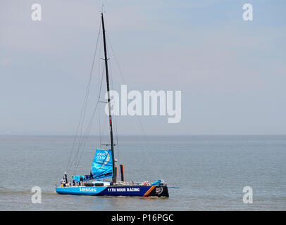 Cardiff Bay, Cardiff, Wales UK. 10th June 2018  Vestas 1ith Hour Racing,  leaves port to prepare for the start of The Volvo Ocean Race  Leg 10 Cardiff to Gothenburg. Credit: Phillip Thomas/Alamy Live News - Stock Photo