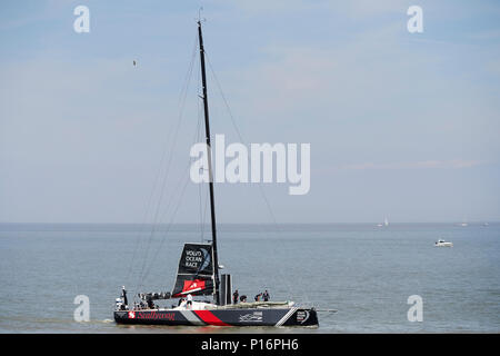 Cardiff Bay, Cardiff, Wales UK. 10th June 2018.SHK Scallywag leaves port to prepare for the start of The Volvo Ocean Race  Leg 10 Cardiff to Gothenburg. Credit: Phillip Thomas/Alamy Live News - Stock Photo