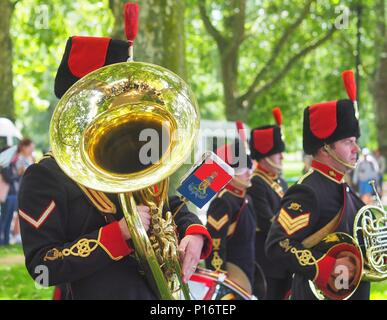 London.UK.11th June 2018. The King's Troop Royal Horse Artillery fire a 41 round Gun Salute to honour the Duke of Edinburgh's 97th birthday in Hyde Park. © Brian Minkoff/Alamy Live news Stock Photo