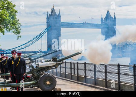 London, UK. 11th June 2018. The Honourable Artillery Company (HAC), the City of London's Reserve Army Regiment, fire a 62 Gun Royal Salute at the Tower of London in honour of the 97th birthday of His Royal Highness The Prince Philip, Duke of Edinburgh.. The three L118 Ceremonial Light Guns fired at ten second intervals.  Whilst a Royal Salute normally comprises 21 guns, this is increased to 41 if fired from a Royal Park or Residence. Credit: Guy Bell/Alamy Live News Stock Photo