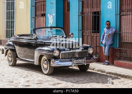 A vintage 1948 American Mercury Eight working as a taxi in the UNESCO World Heritage town of Trinidad, Cuba. - Stock Photo