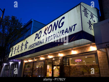 Po Kong Chinese Vegetarian Restaurant in Vancouver BC Canada. - Stock Photo