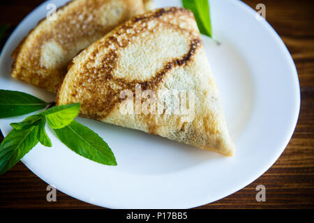 fried pancakes thin - Stock Photo