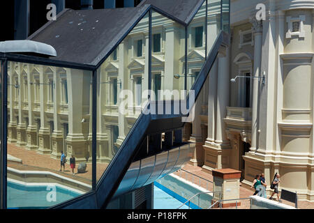 Wellington Town Hall, reflected in Michael Fowler Centre, Civic Square, Wellington, North Island, New Zealand - Stock Photo
