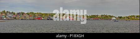 Lunenburg waterfront panorama from across the bay. Lunenburg, Nova Scotia, Canada. - Stock Photo