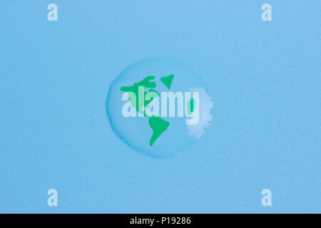 planet earth in a water drop. save water concept - Stock Photo