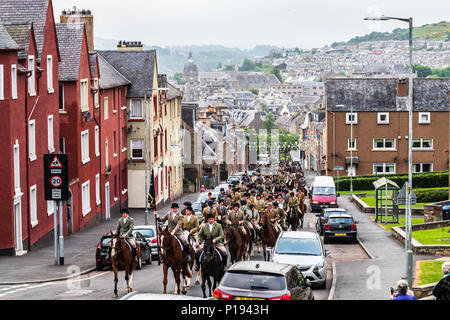 Hawick, Scottish Borders, UK. May / June 2018. The Common Ridings celebrates the capture of an English Flag in 1514 by the youth of Hawick at a place  - Stock Photo