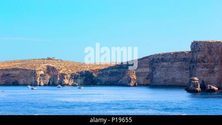 Comino island with blue lagoon at Malta, EU - Stock Photo