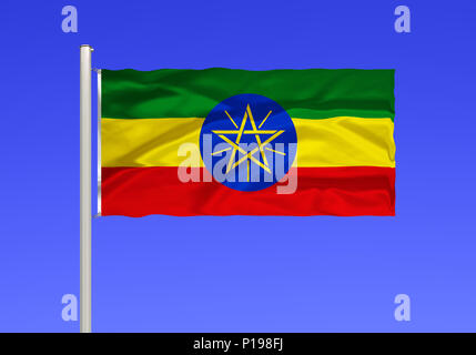 Flag of Ethiopia, landlocked country in North Africa, Africa, formerly abyssinia, the capital is Addis Ababa,, Flagge von Aethiopien, Binnenstaat in N - Stock Photo