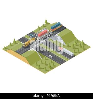 Representation Infographic Railway bridge over the highway isometric low poly icon set vector graphic illustration - Stock Photo