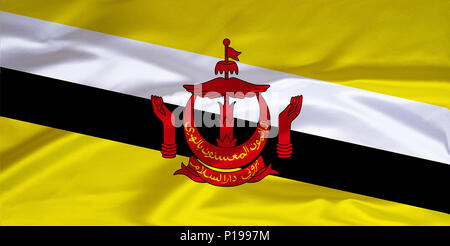 Flag of Brunei, the Sultanate, South East Asia, is located on the island of Borneo,, Flagge von Brunei, Sultanat, Suedostasien, liegt auf der Insel Bo - Stock Photo