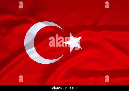 Flag of Turkey, Flagge von Tuerkei - Stock Photo