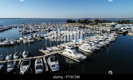 Boating marina with many yachts and speedboats on Swan River in Perth, Western Australia - Stock Photo