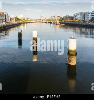 Dublin, Ireland - September 18, 2016: The central Dublin cityscape along the River Liffey viewed from the Samuel Beckett Bridge. - Stock Photo