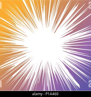 Abstract Comic horizontal speed lines with gradient background-vector illustration. - Stock Photo