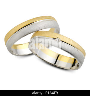 A pair of wedding rings, isolated on white background - Stock Photo