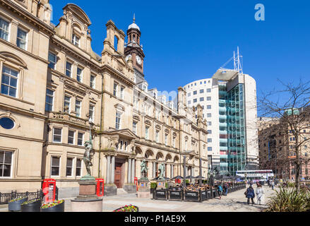 yorkshire england leeds yorkshire england the old post office building in the City Square leeds city centre restaurant with outside dining leeds uk - Stock Photo