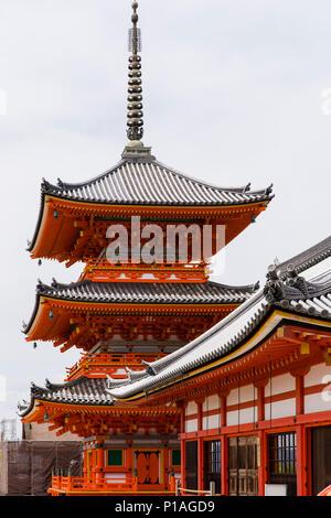 Sanjunoto Pavillion and Asakura-do Shrine in the Grounds of Kiyomizu-dera Temple, Kyoto, Japan. - Stock Photo