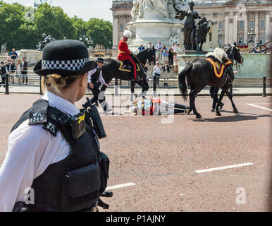 A view of lord Guthrie being treated after falling of his horse during trooping the colour june 9 2018. - Stock Photo