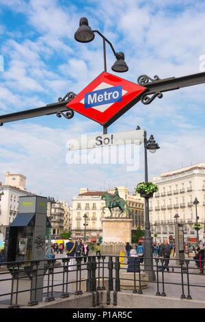 Puerta del Sol Madrid, view of the metro entrance and central square of the Puerta del Sol in the center of Madrid, Spain. - Stock Photo