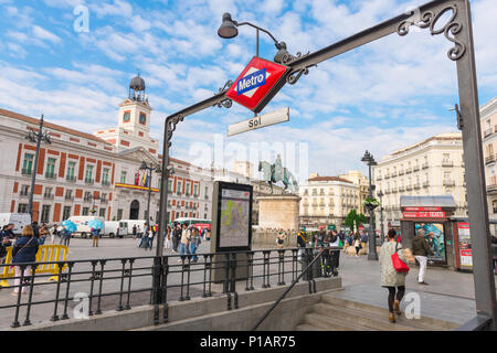 Puerta del Sol Madrid, view of the metro entrance and central square of the Puerta del Sol in the center of Madrid, Spain. - Stock Photo