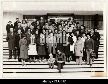 THE CZECHOSLOVAK SOCIALIST REPUBLIC - CIRCA 1980s: Vintage photo shows group of people stand on stairs. - Stock Photo