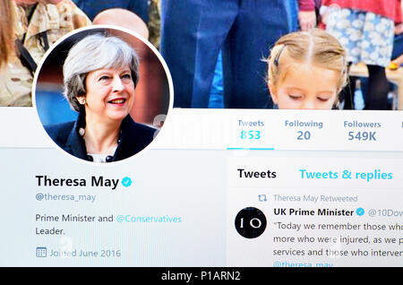 Theresa May Twitter account home page (June 2018) - Stock Photo
