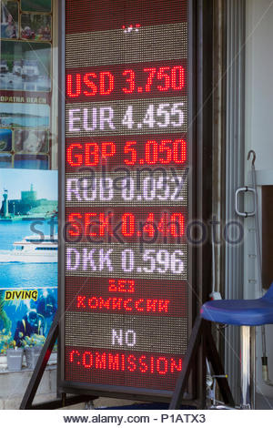 Turkey, Marmaris Area, 2017: View Of Money Changer Advert With Foreign Exchange Rates (For Turkish Lira) - Stock Photo