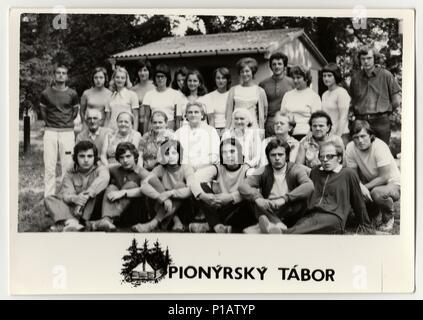 THE CZECHOSLOVAK SOCIALIST REPUBLIC - CIRCA 1980s: Vintage photo shows chiefs at summer camp. - Stock Photo