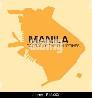 simple outline vector map of Philippines capital, Manila - Stock Photo