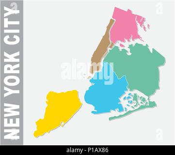 Colorful New York City administrative and political vector map, united states - Stock Photo