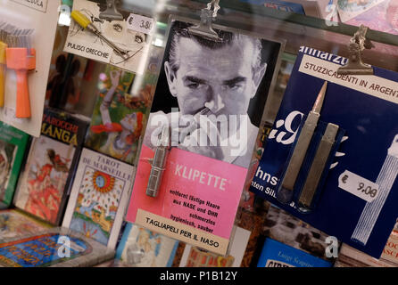 vintage style nose hair clippers in shop window, bologna, italy - Stock Photo