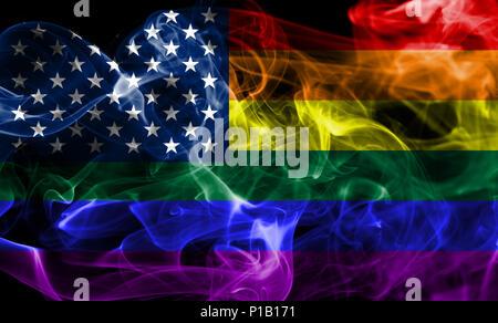 USA gay  smoke flag, LGBT USA flag - Stock Photo