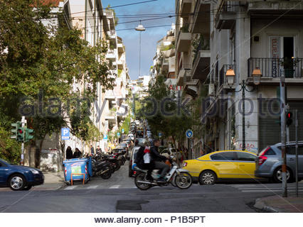 Europe, Greece, Athens Area, 2017: View Of Cars Driving On Main Road - Stock Photo