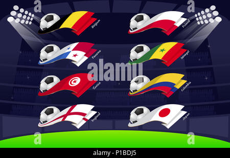 All flags for soccer 2018 - Stock Photo