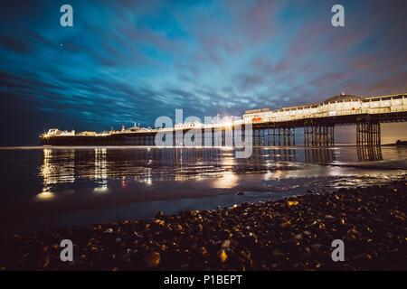 Brighton pier at night, Brighton Beach, Brighton, England - Stock Photo