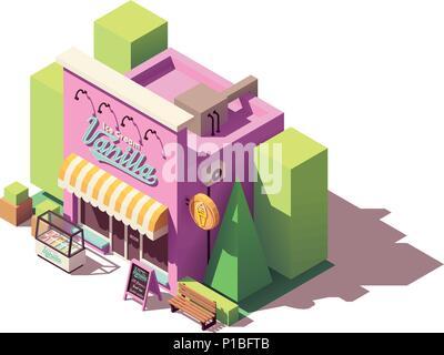 Vector isometric ice cream shop - Stock Photo